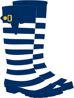 Dark Blue & White Striped  Rain Boot